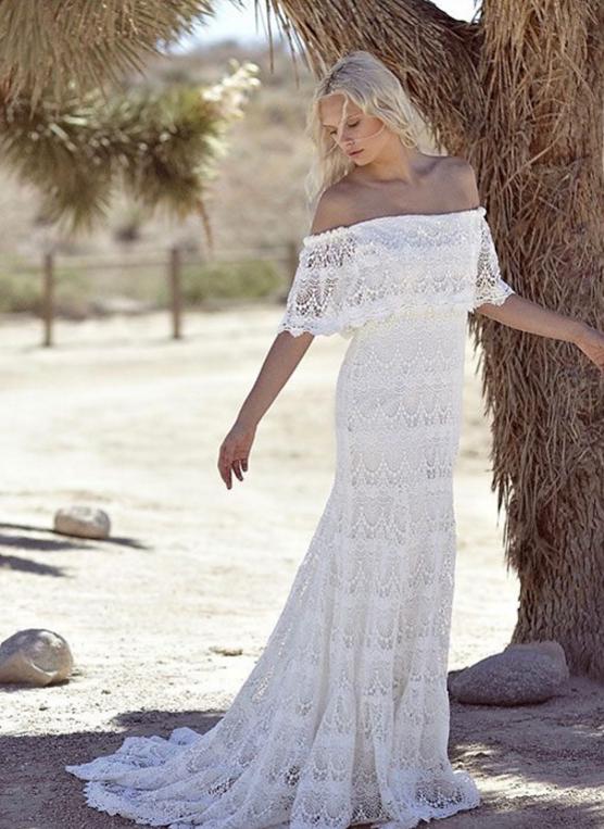 b4c8d7eabc3 Hot 2018 Full Lace Bohemian Summer Beach Wedding Dresses Off The Shoulder  Cheap Boho Hippie Sweep ...