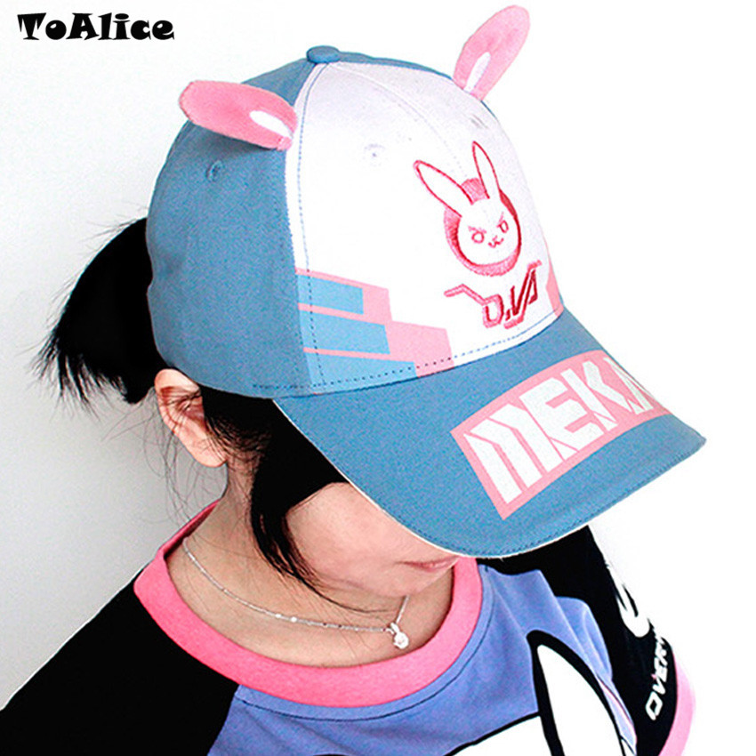 Game OW D.va DVA Cosplay Baseball Cap Women Men Cartoon Rabbit Ear  Embroidery Snapback Hat Casual Fashion Cap Adjustable on Storenvy 55180bb19e7