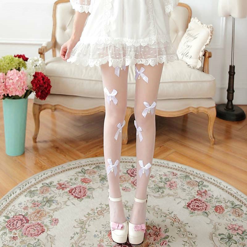 Spring Summer Girls Tights Pearl Bow-Knot Stockings Women