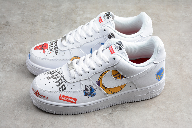 promo code c7b6d 792fc Nike x Supreme x NBA Air Force 1 Mid 07 white AF1 sneakers from Toms
