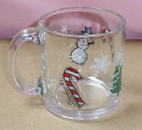 Starbucks Clear Glass Holiday Candy Cane Snowman Set Of 2