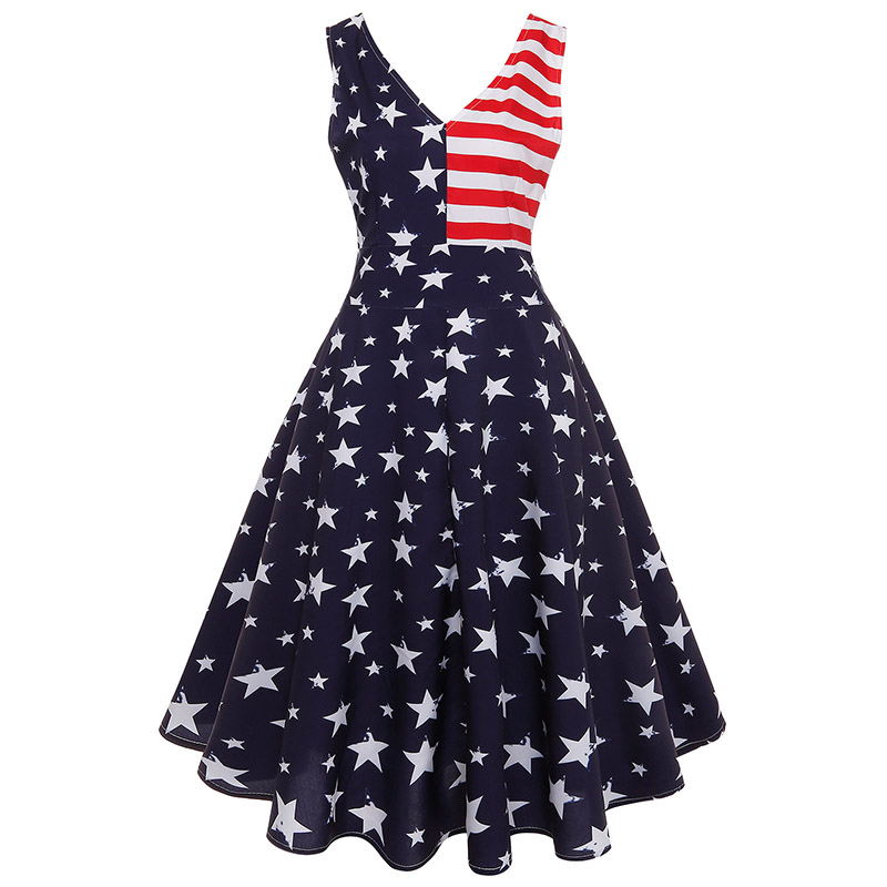 6e6e240ac6735 Independence Day 4th of July A-Line V-Neck American Flag Print Dress ...