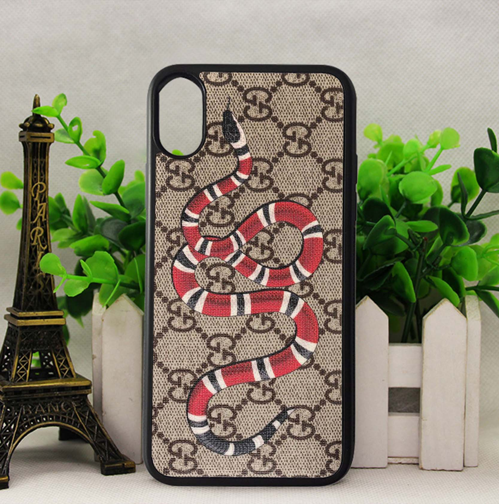 purchase cheap c49db 55c6b Gucci Snake Brown Pattern Case for iPhone 5 5s SE 6 6s 7 8 Plus X Samsung  S7 S8 Note 8 Cover + from FushionShop