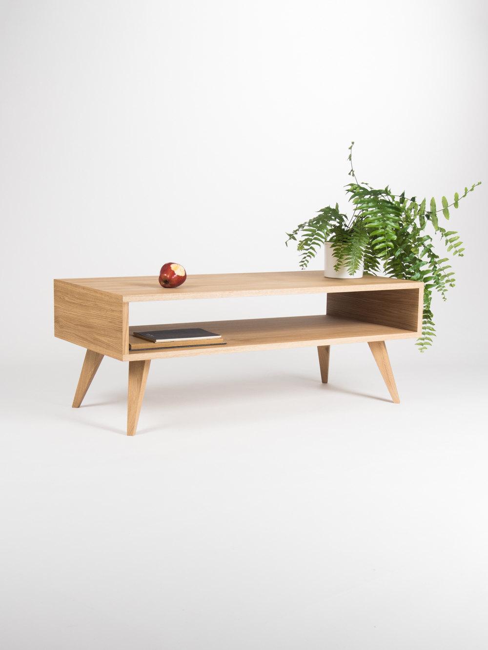 Mid century modern coffee table, box sofa table, made of oak wood on ...