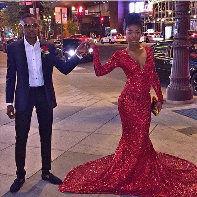 d51d0bb7cd7 2019 Mermaid Sequin Prom Dresses Deep V Neck Long Sleeves Red Evening Gowns