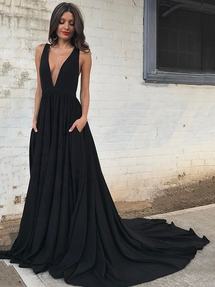 Black deep v neck long formal gown women evening dresses on Storenvy