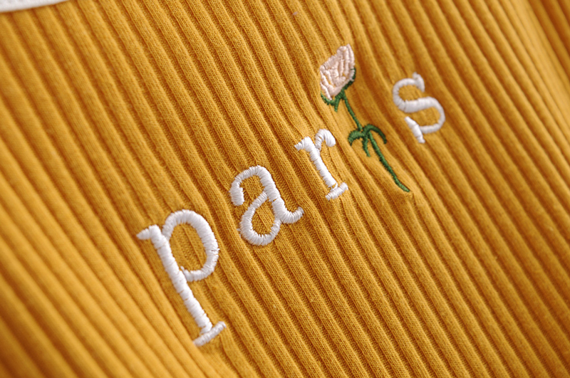 f7eae61a8a2da6 ... Paris Floral Embroidered Crop Top Ribbed Cami Women Girls Tank Tops in  Yellow / White ...