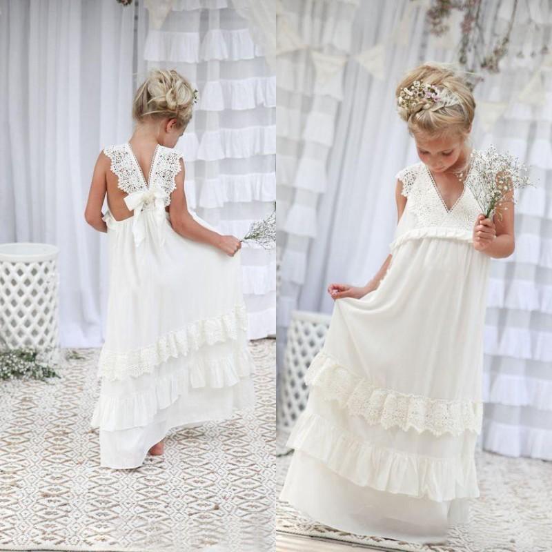952c7403fa2 White Chiffon Lace Flower Girls Dresses Floor Length Lovely Elegant Wedding  Guest Dresses