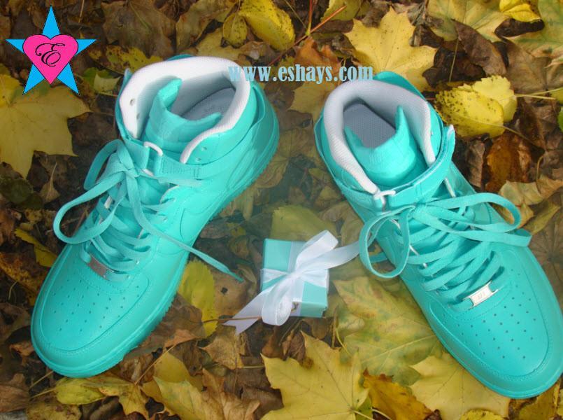 Eshays Custom Tiffany Blue Hi Top Nike Air Force Ones Online