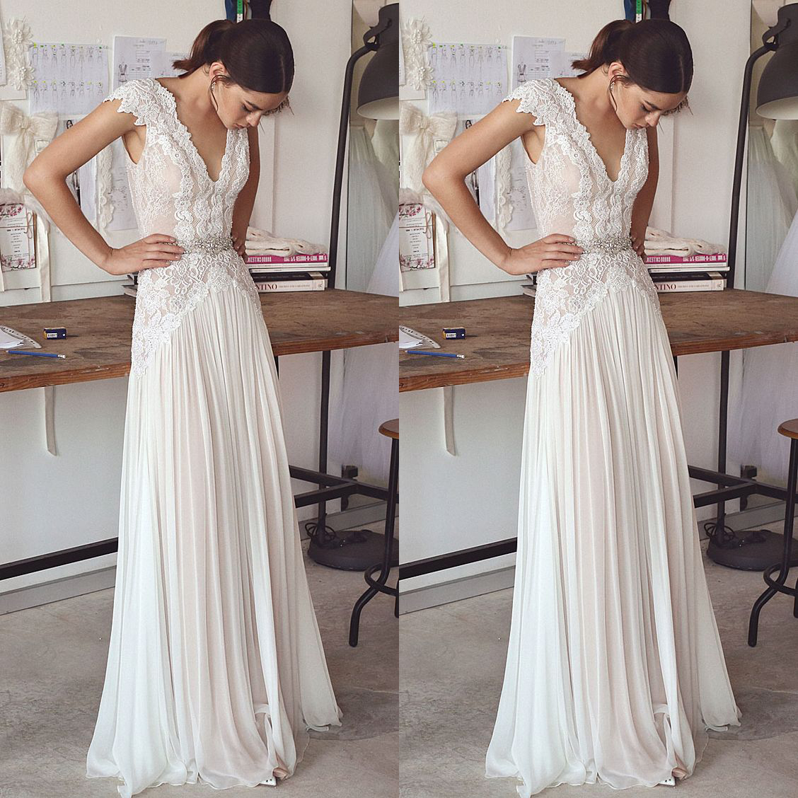 Boho Wedding Dresses 2018 Bohemian Bridal Gowns With Cap Sleeves And V Neck Pleated Skirt Elegant A Line Bridal Gowns Low Back From Better4u