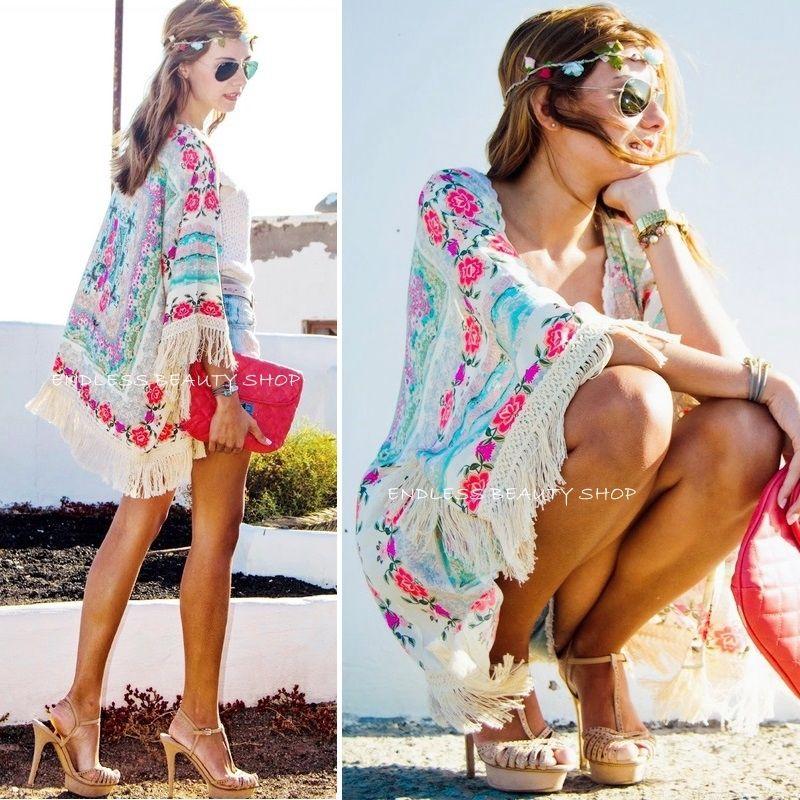 15dd244b83 Women Boho Floral Fringe Kimono Tassels Cardigan Bikini Cover Up on ...