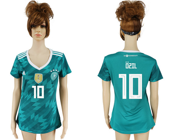 Ozil  10 Women Germany National Team Away Soccer Jersey 2018 ... e22fb6ef9