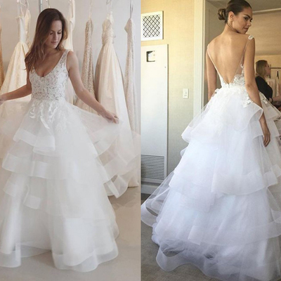 0ccb7e39b0d 2018 vintage lace wedding dress v-neck sexy open back appliques tulle  ruffles summer bridal