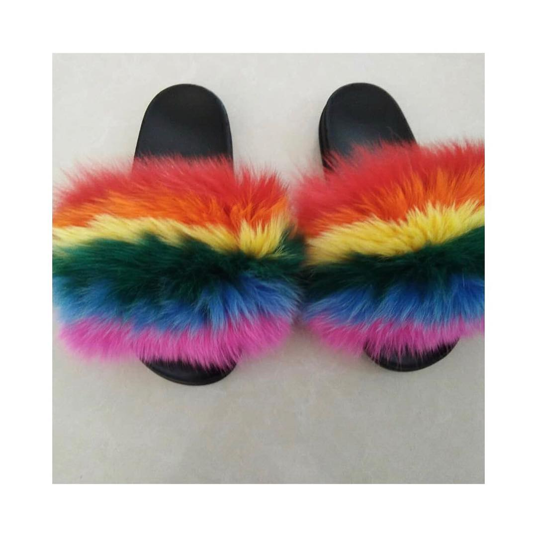 Rainbow Fur Slides sold by WynnYouDoubt