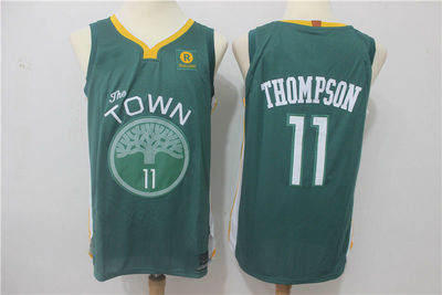 0f612786127 2017-18 Golden State Warriors  11 Klay Thompson Jersey Green ...
