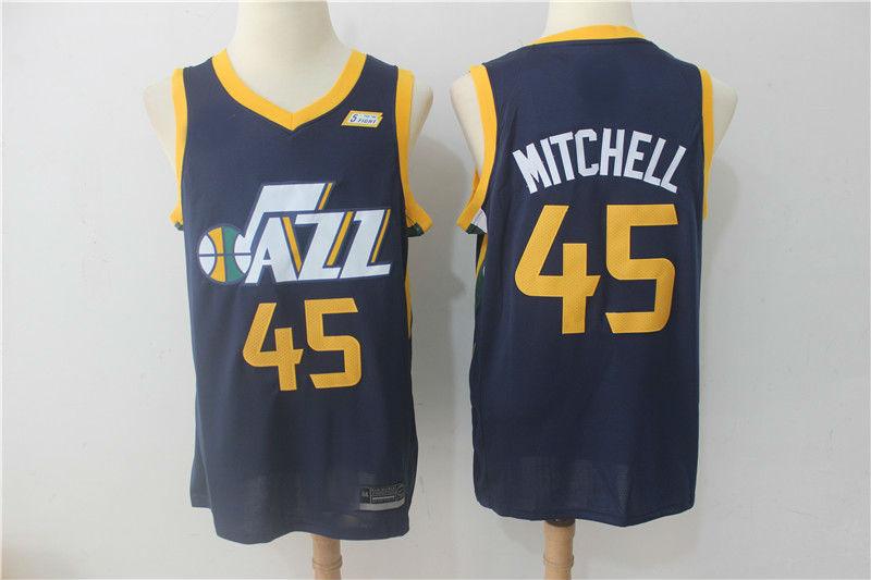 2017-18 Utah Jazz  45 Donovan Mitchell Basketball Jersey Blue ... f941f3884