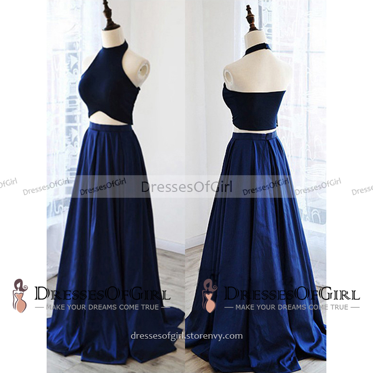 acd5130f74c High Neck Halter Two Piece Long Prom Dress