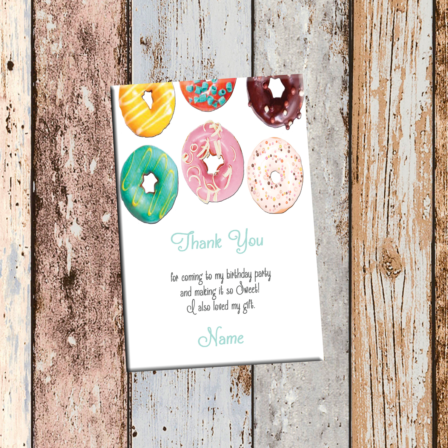 Donut Sweets Personalized Birthday Invitation 2-Sided, Birthday Card ...