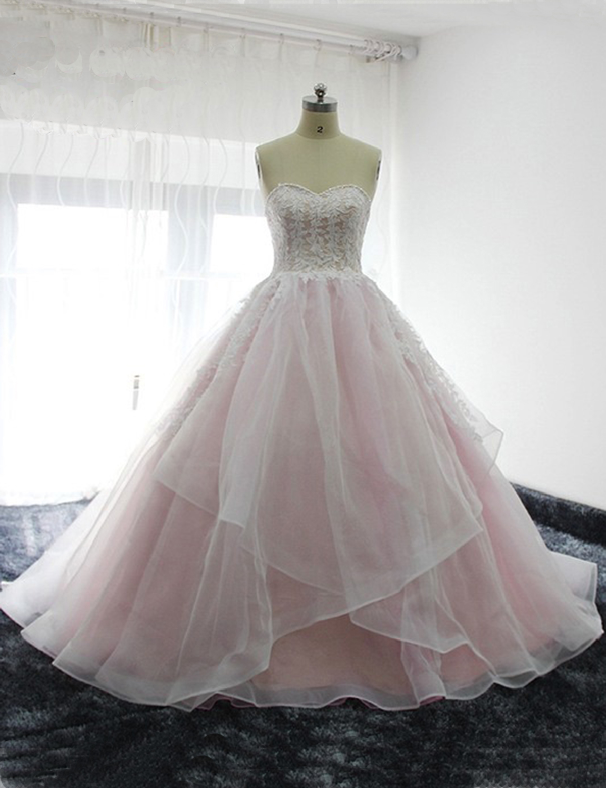 ab10f39ad6145 2018 sweetheart baby pink long tulle prom dress, long white lace appliques  evening dress