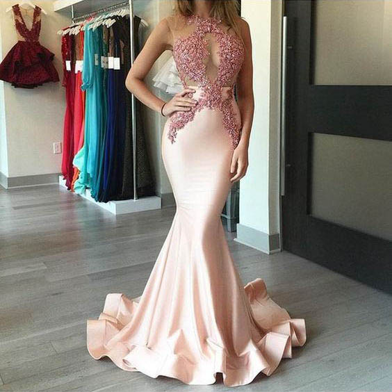 06a26a9a408c Pink Prom Dresses, Scoop Neck Tulle Mermaid Long Formal Dresses, Silk-like  Satin Sweep Train with Appliques Lace Party Dresses, #020104520 on Storenvy