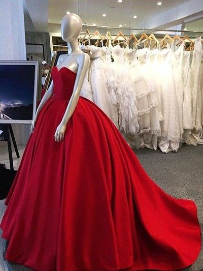 Long prom dress,Red ball gown,red prom