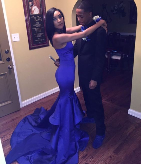 e053dc1e9909 Royal Blue Mermaid Satin Prom Dresses Sexy Sweetheart Tiered Black Girl  African Girl Prom Gowns Evening