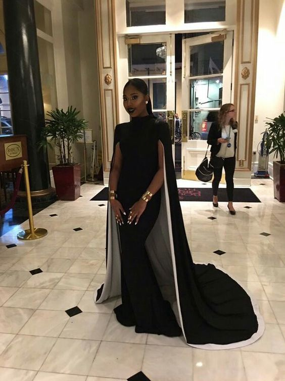 5bc2164ea49 Black and White Mermaid Prom Dresses High Neck with Shawl African Girl Black  Girl Evening Formal