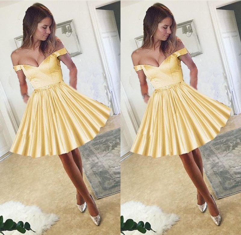 90d218d289 Yellow Satin V-neck Off The Shoulder Homecoming Dress