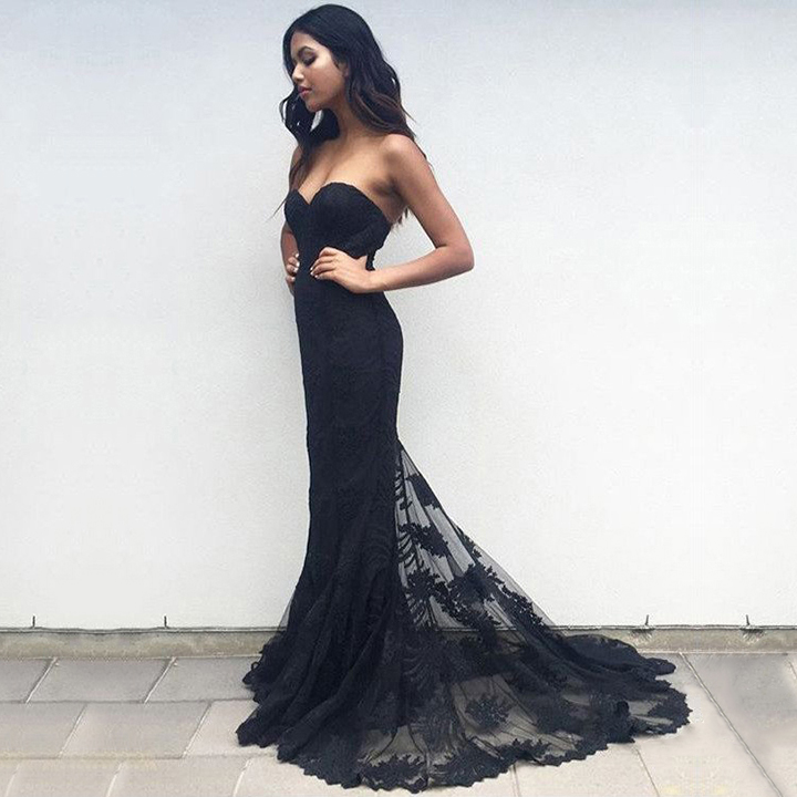 ca43a66fa09e1 Latest Trumpet/Mermaid Prom Dresses, Sweetheart Tulle Black Formal Dresses  for Women, Lace Long Evening Party Gowns, #020103497 from amyslove