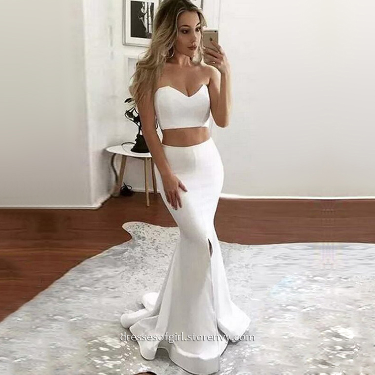 a23d307c893 Two Piece Prom Dresses,Trumpet/Mermaid Sweetheart Long Formal Dresses,White  Satin Pageant Dresses,#020104804 on Storenvy