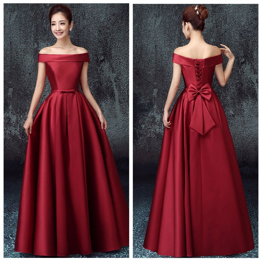 eb617f3a1c80 Burgundy Off Shoulder Satin Floor Length Lace-up Prom Dress With Bowknot