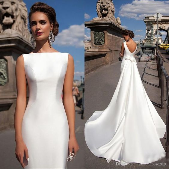 66592b254d2b Satin Mermaid Wedding Dresses 2018 Bateau Boat Neck Sleeveless ...
