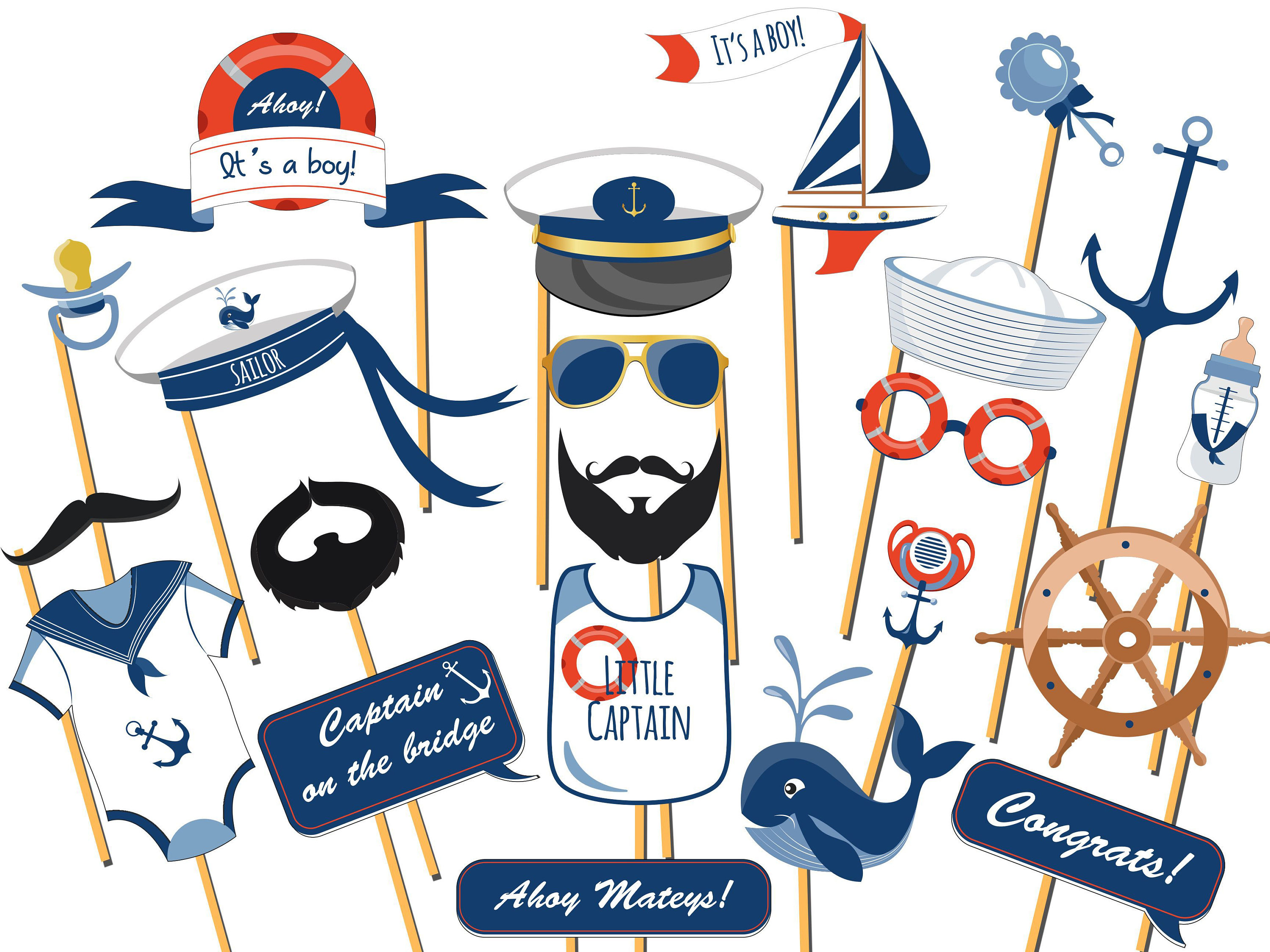 cce0b50c92ce9 Personalized Nautical baby shower photo booth prop, Ahoy It's a Boy ...