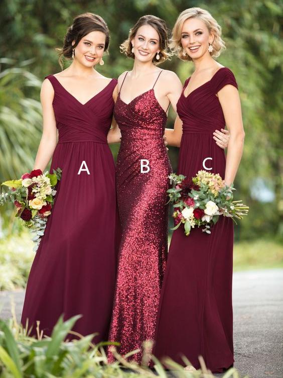 super quality big discount of 2019 distinctive design Dark Red Sequin Mismatched Custom Long Bridesmaid Dresses, WG235