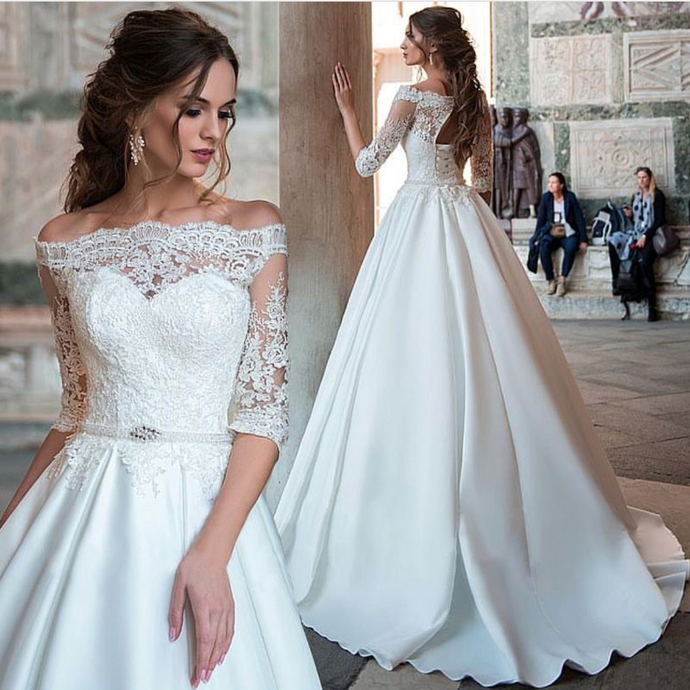 White Wedding Dress Song: Elegant Ball Gown Half Sleeve White Lace Satin Off