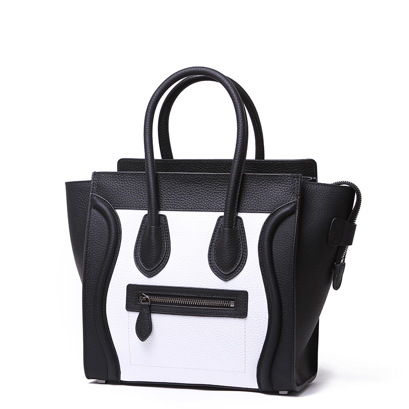 937307e98ef3 Large Black and White Leather Tote Bag on Storenvy