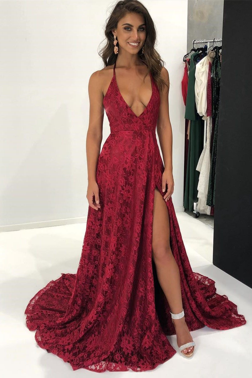 708bb59f303 Sexy Halter Wine Red Lace Long Formal Evening Dress - Thumbnail 1 ...