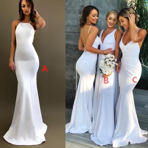 White Bridesmaid Dresses Mismatched Bridesmaid Dresses Long Sexy Elegant Most Popular Cheap