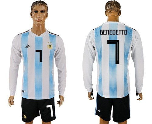259213474 Argentina  7 Benedetto Home Long Sleeves Soccer Country Jersey ...