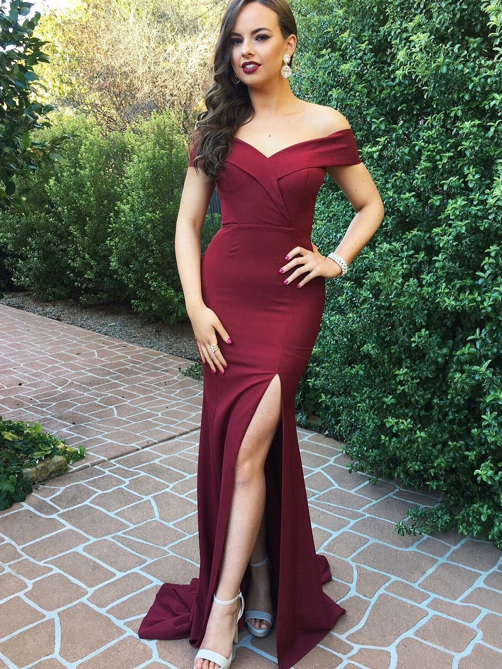 8317f4cd5a1c Elegant Off the Shoulder Wine Mermaid Prom Dresses Evening Party Dresses  with Side Slit - Thumbnail ...