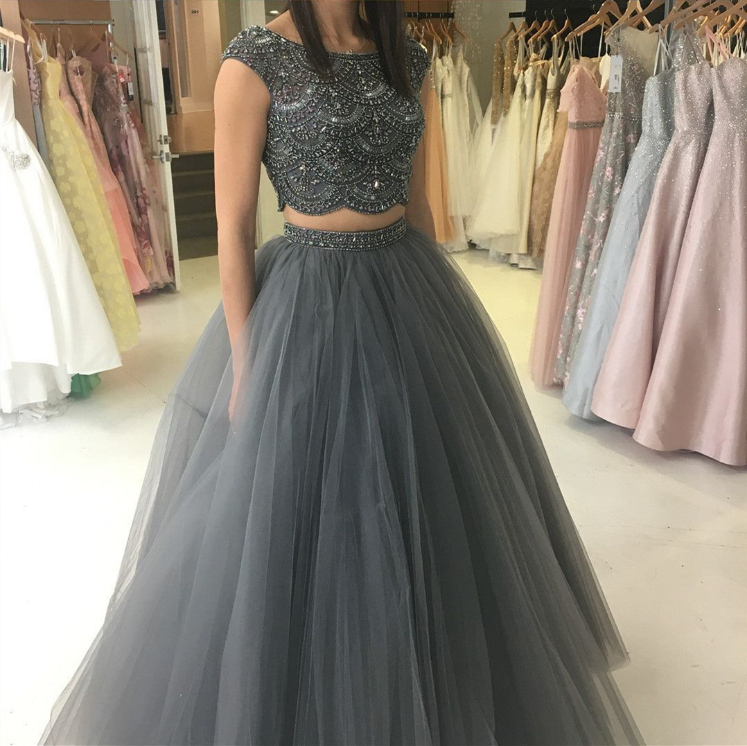 362141a43e41d ball gown, two piece prom dresses, beaded grey long prom dresses, 2018 prom  dresses, party dresses, sweet 16 dresses
