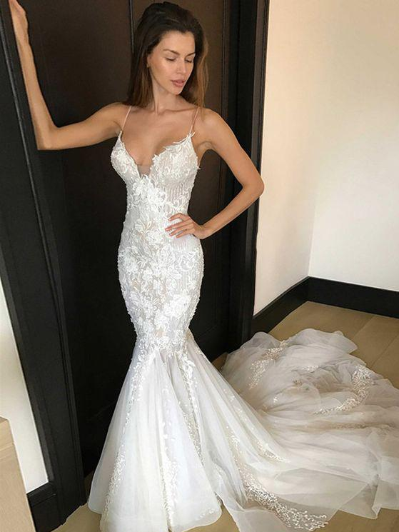 3f0432e56c9a 2018 Long Mermaid Wedding Dress Spaghetti Straps Sexy Deep V-Neck Lace  Appliques Sweep Train Summer Beach Bridal Gowns on Storenvy