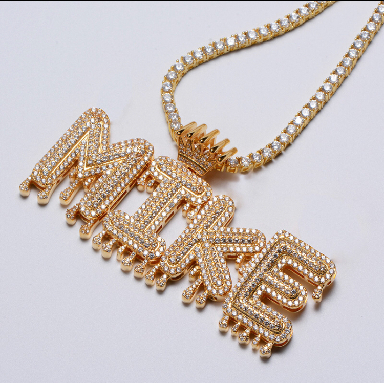 e247f1367fd Dripping custom letters pendant with tennis chain · Golden Sand ...