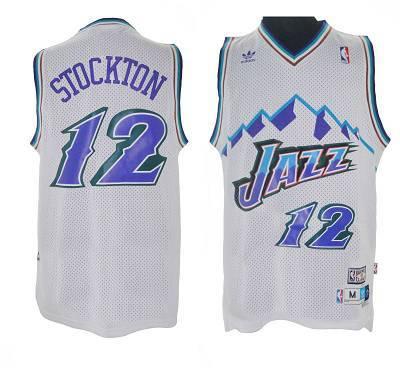 size 40 e1cd5 5261e Jazz #12 John Stockton White Throwback Stitched NBA Jersey sold by  NBAJerseysales1