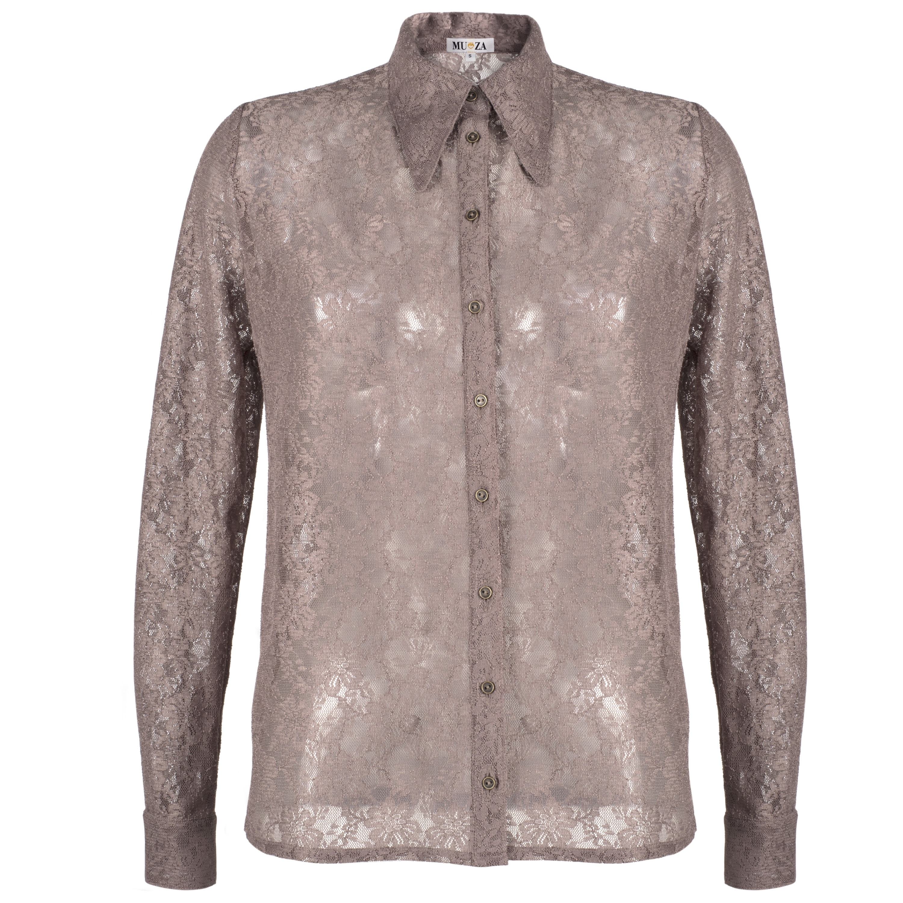 5e34a2dbf3 Lace Shirt With Large Collar, Vintage Style Button Down Shirt, Retro Shirt, Boho  Chic, Close Fit Shirt, 70s Style Shirt, Long Sleeve Blouse on Storenvy