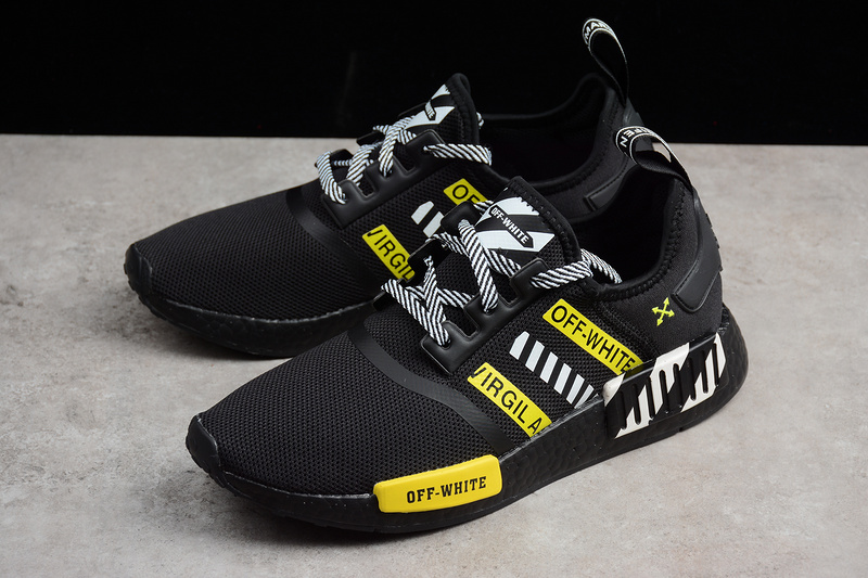 82b2ca554 OFF-WHITE X Adidas NMD Boost R1 Black runner shoes · Toms · Online ...