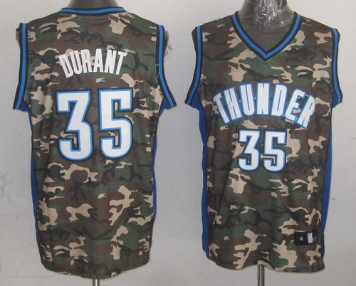 1b9acd267d1 Thunder  35 Kevin Durant Camo Stealth Collection Stitched NBA Jersey ...