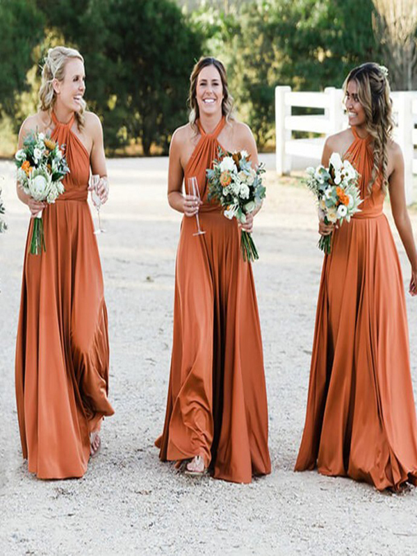 Burnt Orange Bridesmaid Dress - Elegant A-line Jewel ... |Burnt Orange Gowns