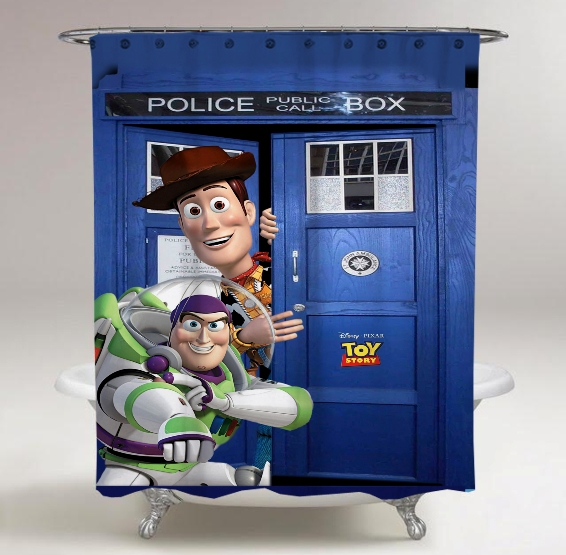 Toy Story In Dr Who Tardis Call Box Print On Custom Shower Curtain Waterproof Limited Edition