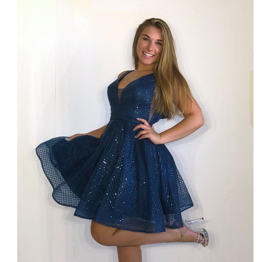 c087ac4c267 Sparkle A-line Short Navy Blue Hoco Dress · modsele · Online Store ...